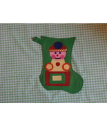 Vintage Felt Christmas Stocking Green with Toy on Front - $14.84