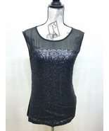 Le Chateau Women Sequined  Knitted Sleeveless Blouse  Black S - $20.93