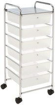 Seville Classics Large 6-Drawer Storage Bin Organizer Cart, Frosted White - $1.258,92 MXN