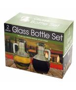 Glass Oil and Vinegar Bottle Set Two 8 oz Each Brand New Great Gift NEW - $6.95