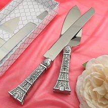 Love In Paris Eiffel Tower Design Cake Knife and Server Set - $13.53