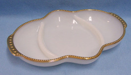 Vintage Fire King White Milk Glass Divided Relish Dish Tray Gold Trim USA Made - $12.86
