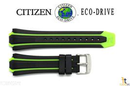 Citizen Eco-Drive BN0090-01E Black / Green Rubber Watch Band S080100 59-... - $59.95