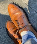 Classic Men's Wingtip Brogue Shoes, Christmas Brown Leather Lace Up Shoes - $158.99