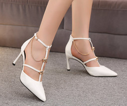 84H071 Fashionable strappy pointy pumps with chain, Size 3-8.5, white - $68.80