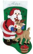 Design Works Santa with Deer Christmas Holiday Craft Felt Stocking Kit 5238 - $29.95