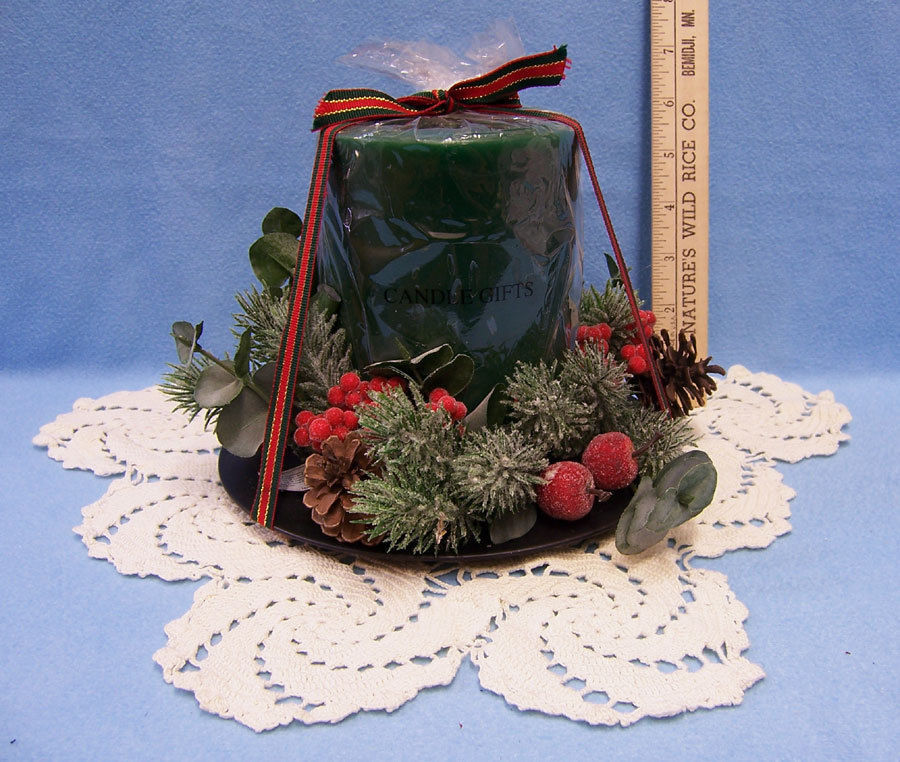 Primary image for Christmas Candle Centerpiece with Holly Pine Cones & Greenery and Ecru Doily