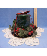 Christmas Candle Centerpiece with Holly Pine Cones & Greenery and Ecru D... - $19.79