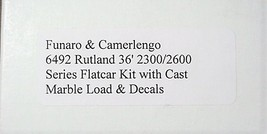 Funaro & Camerlengo HO Rutland 2300/2600 Flatcar with Marble Load,  Kit 6492 image 3