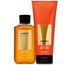 BATH & BODY WORKS Amber Body Cream & 2-In-1 Hair + Body Wash Set For Men - $27.53