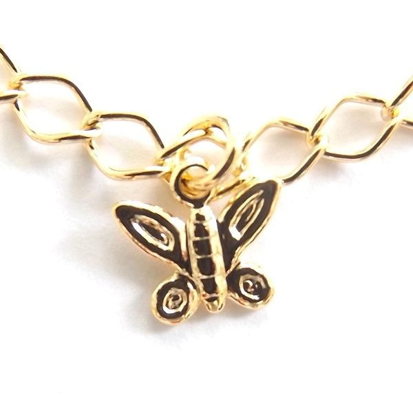 GOLD PLATED QUALITY NICKLE FREE CHARM BRACELET BUTTERFLY MARIPOSA  ADJUSTABLE.