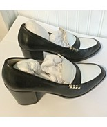 Cole Haan Womens Sz 9.5 B Shoes Black White Leather Chunky Heels Slip On - $49.73