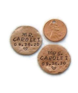 Mr and Mrs wedding set, personalized pocket charms, hand stamped newlywed gift - $20.00