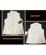 Jane Ashley White Quilted Puffer Vest Sz L - $22.99