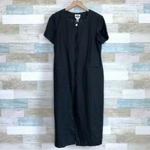 Talbots Vintage 90s Irish Linen Midi Shirt Dress Black Lagenlook Womens ... - $59.39