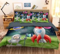 3D Rocket Astronaut 26 Bed Pillowcases Quilt Duvet Single Queen King US Lemon - $102.84+