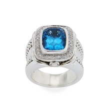 ▌Scott Kay 925 Sterling Silver Diamonds Blue Topaz Ladies Ring Size 6.5 ... - £298.29 GBP