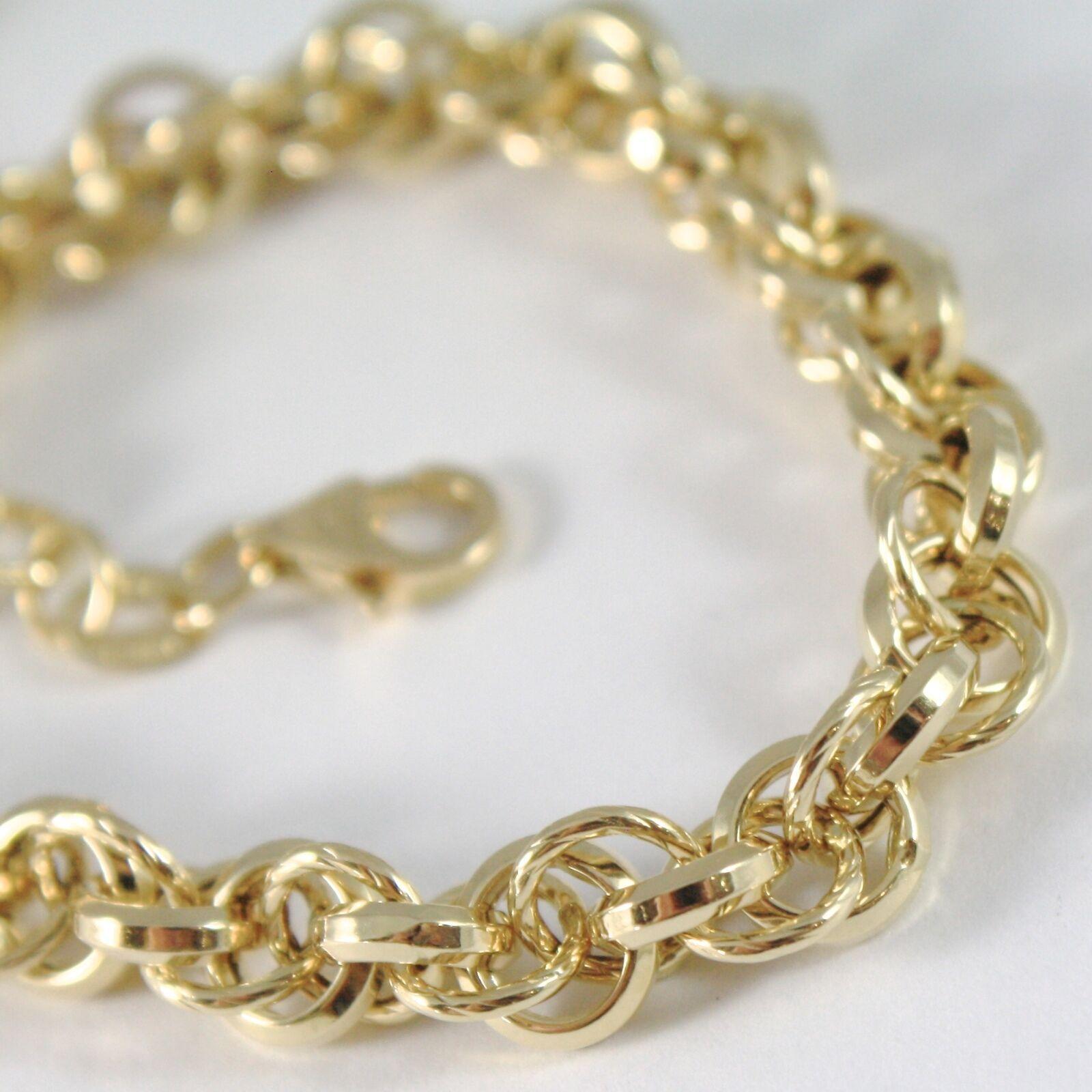 Bracelet en or Jaune 750 18K Anneaux, Cercles Tressé, 20.5 cm Longueur