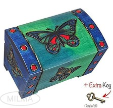 Butterfly Chest Box Polish Handmade Wooden Chest w/ Lock Kids Jewelry Bo... - €31,33 EUR
