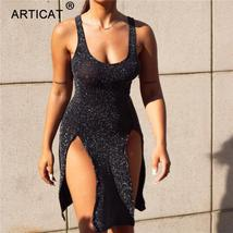 Articat High Split Sexy Sparkly Party Dress Women 2018 Hollow Out Backle... - $37.99