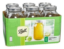 Ball Wide Mouth Half Gallon 64 Oz Jars with Lids and Bands, Set of 6 - $16.92