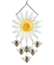 "20.9"" Daisy Flower with Hanging Bumblebee Accents Metal Windchime"