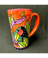 Vintage 1998 Laurel Burch 16Oz. Cup Brown Cat Colorful Bird - $35.64
