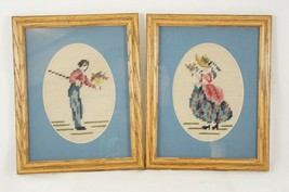 Needlepoint Pair Completed Victorian Gentleman & Lady Rectangle Wood Frames - $17.90