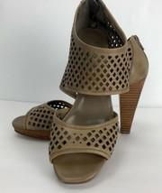 Franco Sarto Women's Shoes Tan Size 7 M Heel Leather Cut Out Open Toe Sandal - $29.69