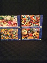 New Lot Of 4 Puzzlebug 500 Piece Jigsaw Puzzles Sweets Candy Snacks - $16.82