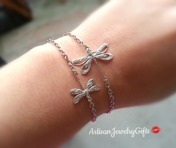 Mom And Baby Dragonfly Bracelets Set Friendship Bracelets Silver Dragonf... - $25.00+