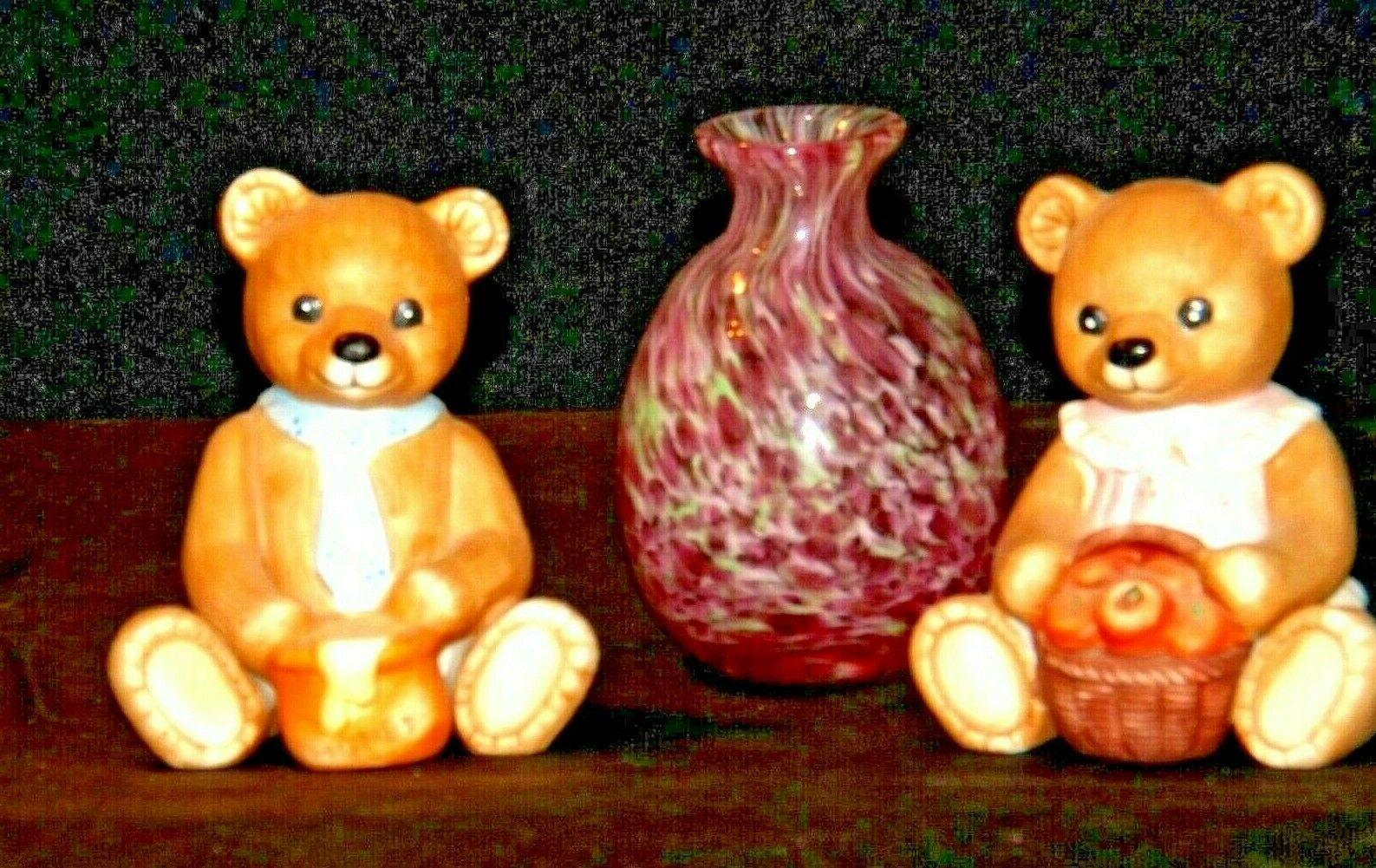 HOMCO Bears and a blown glass Vase AA-191708 Vintage Collectible 3 Pieces