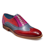Oxford Multi Color Wing Tip Genuine Leather Brogue Toe Handmade Lace Up ... - $139.99+