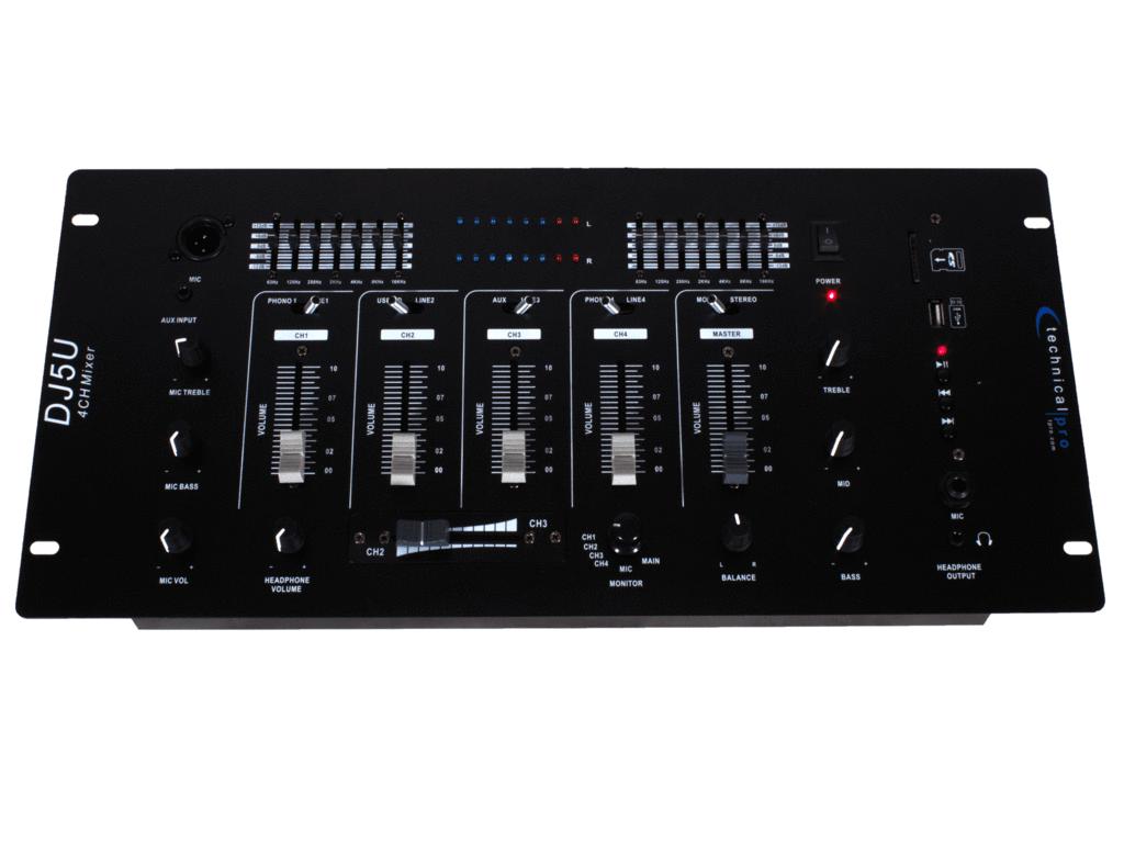 Technical Pro DJ5U Professional 4 Channel Mixer w/USB / SD Card Inputs