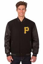 MLB Pittsburgh Pirates Wool & Leather Reversible Jacket Embroidered Logos Black - $269.99