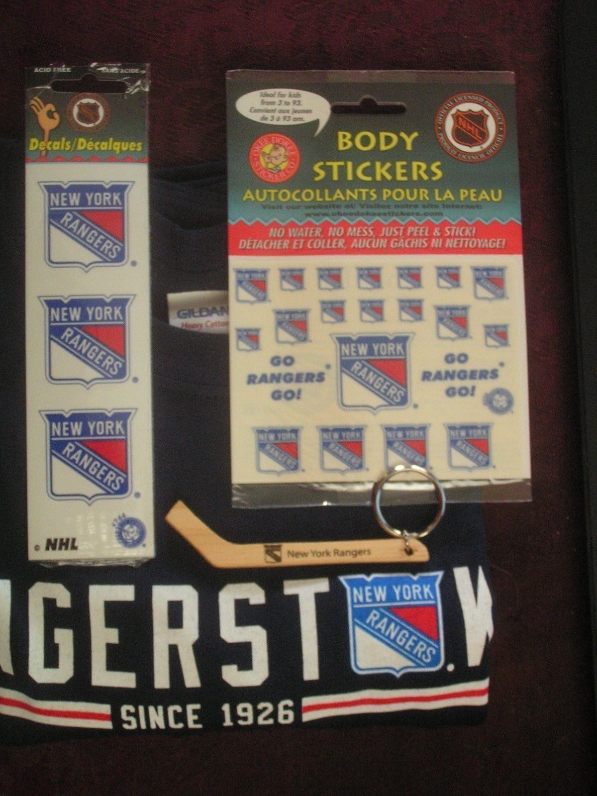 Primary image for NHL New York Rangers Men's XL Shirt, Key Chain, 3 Decals & Body Stickers Lot
