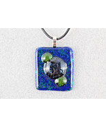 Elegant Handmade Casual Coloured Fused Glass Pendant Necklace + Cord #EM006 - $4.94