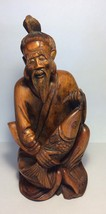 "Vintage Old Chinese Fisherman Carved Wooden Statue Figure 10"" Asian - $80.75"