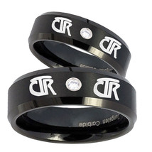 Bride and Groom CTR Step Edges Silver Tungsten CZ Mens Ring Personsized Set - $79.98