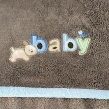 Carter's Just One Year Puppy Dog Bee Brown Blue Fleece Baby Blanket Plus... - $29.69