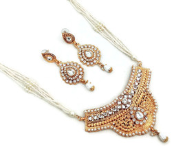 Indian Ethnic Bollywood Gold Plated Kundan Pearl Bridal Jewelry Necklace Set - $16.14