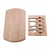 5 Pc Wood Cheese Board Knife Set Stainless Steel Professional Cutting Sl... - $37.73