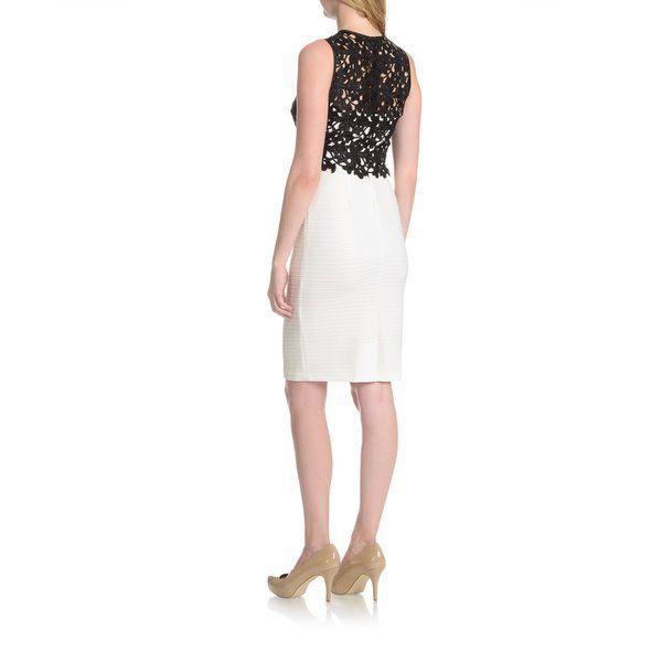 Joanna Chen New York Dress Sz 8 Black Ivory Lace Bodice Overlay Sheath Cocktail