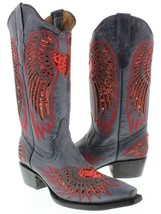 Womens Denim Blue Red Black Heart Sequins Leather Cowgirl Boots Pointed Toe - €81,58 EUR