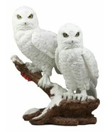 Mystical Two White Snowy Owl Couple Perching On Tree Branch Statue 12.25... - $52.99