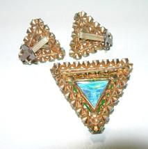 VINTAGE AUSTRIAN CRYSTAL RHINESTONE VASELINE GLASS UNSIGNED BROOCH & EAR... - $150.00