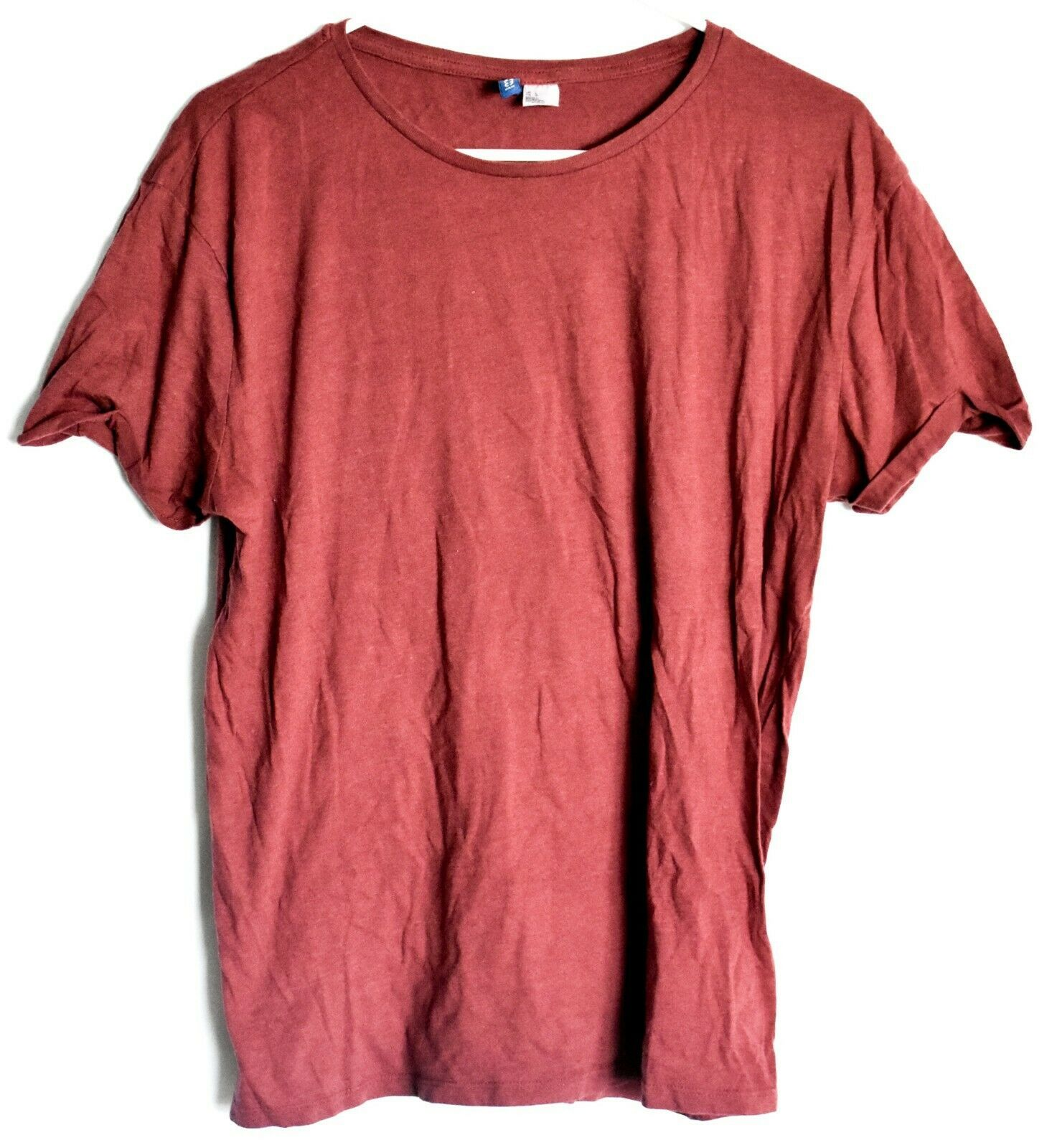 Divided by H&M Men's Heathered Maroon Crew Neck Short Sleeve T-Shirt Size L