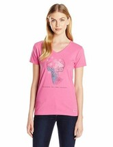 XS 0-2 Life is Good Women's Celebrate Deer Pink Crusher V-Neck Tee T-Shirt Shirt