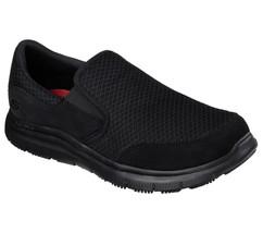 77048 Wide Width Black Skechers shoe Work Men Comfort Mesh Slipon Slip R... - $58.09