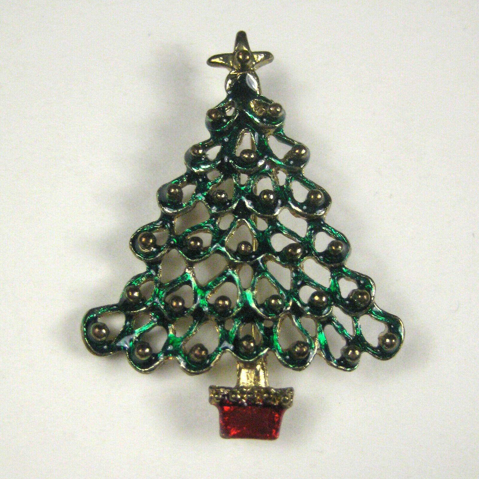 Christmas Tree Pin Christmas Jewelry Vintage Brooch Vintage Christmas Enameled Pin Red and Green Gold Star Tree Brooch Red Base